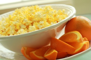 Popcorn and Orange Slices